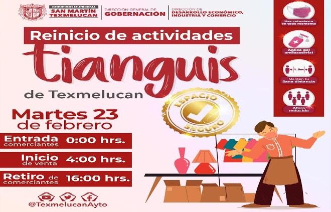 Bajo este protocolo regresa tianguis de Texmelucan este martes 23 de febrero