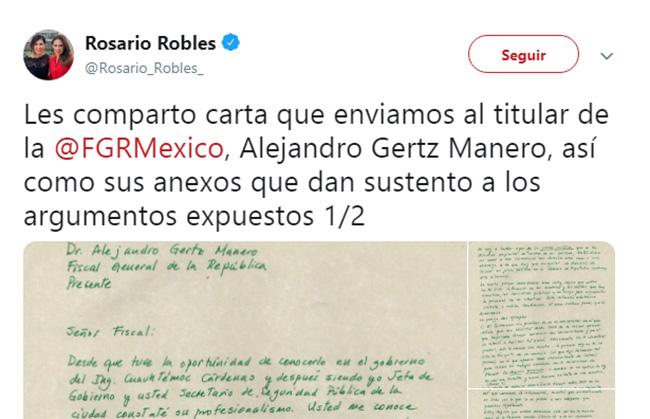 Rosario Robles manda carta desde el penal al fiscal; pide evitar venganza