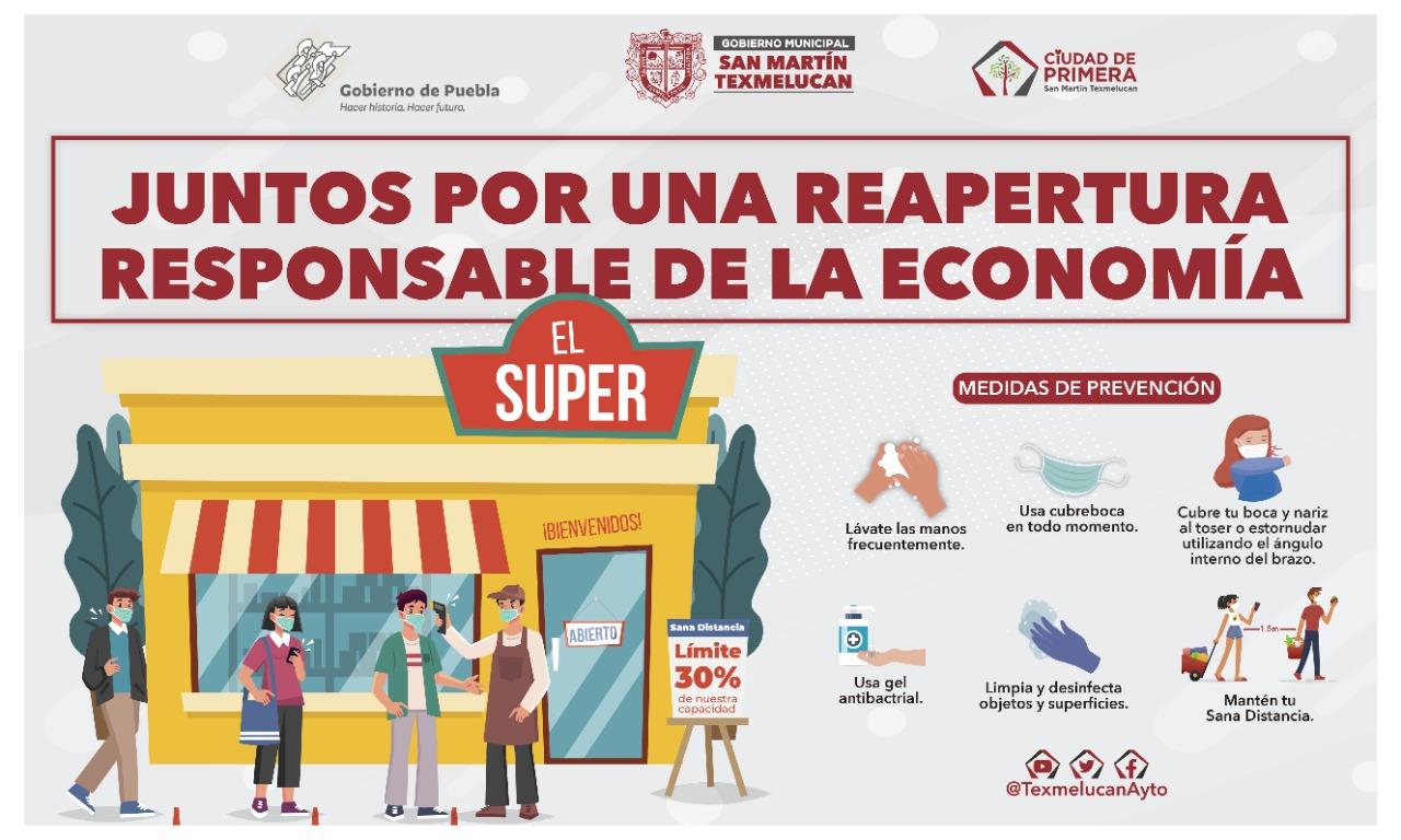 Texmelucan apoya plan de reapertura económica del gobierno estatal
