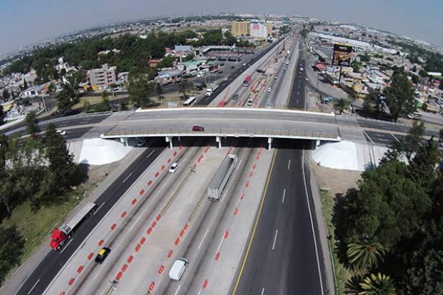 Sin riesgo de colapso, columna agrietada del segundo piso de la México-Puebla