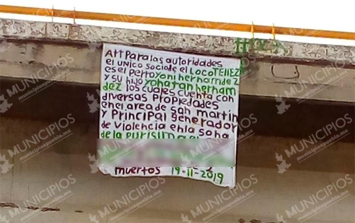Colocan manta en Texmelucan con los nombres de los socios de El Loco Téllez