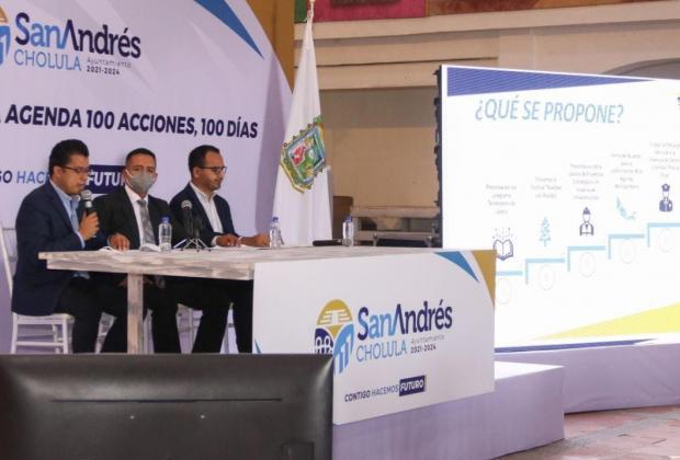 Presenta Tlatehui Agenda de 100 días en San Andrés Cholula