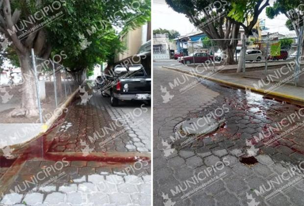 Se tapa drenaje del Rastro en Tehuacán y brota sangre de coladeras