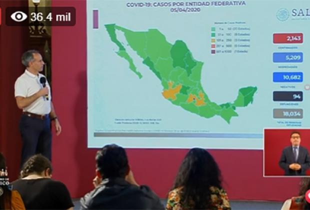 EN VIVO Aumenta a 2143 los casos de coronavirus en México; ya hay 94 muertos