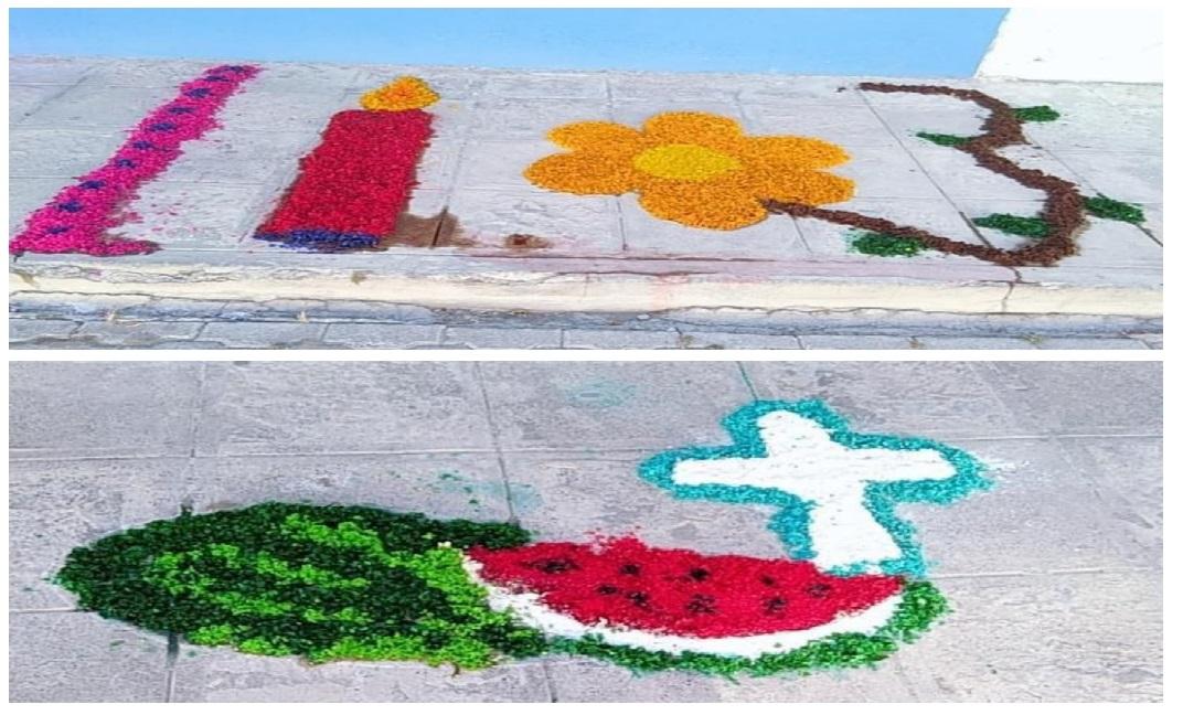 Católicos de Metepec elaboran mini alfombras por Semana Santa