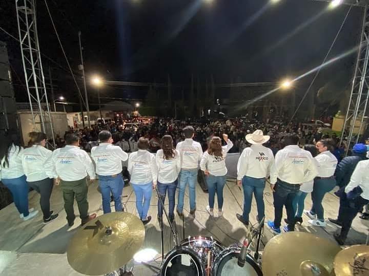 Sin sana distancia candidato del PRI-PAN en Tecamachalco realiza mitin