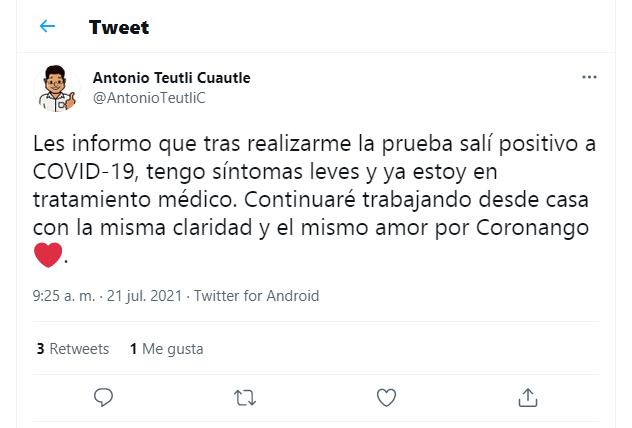 A pesar de estar vacunado, edil de Coronango da positivo a Covid