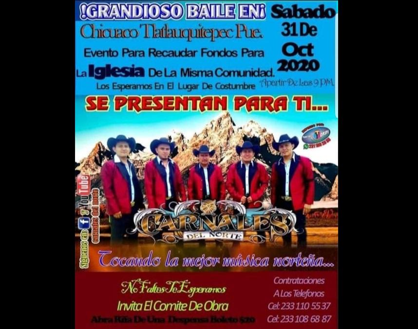 Sin miedo al Covid19, organizan baile para iglesia de Tlatlauquitepec