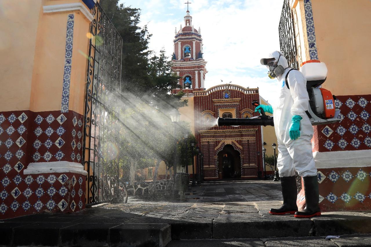 Realiza San Andrés jornada de sanitización en Tonantzintla