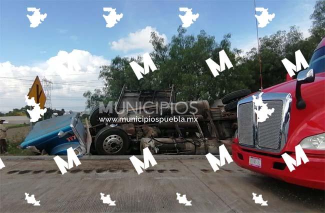 Tractocamión cargado con ganado termina volcado en la Puebla-Orizaba