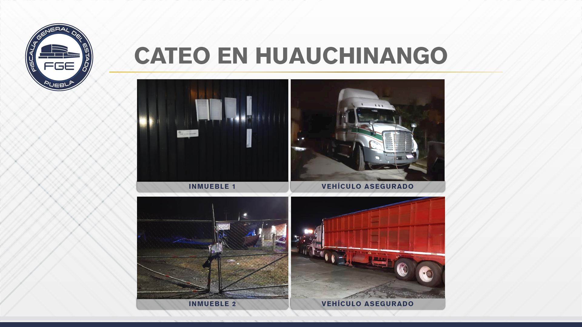 FGE cateó inmuebles en Huauchinango y recuperó un tractocamión