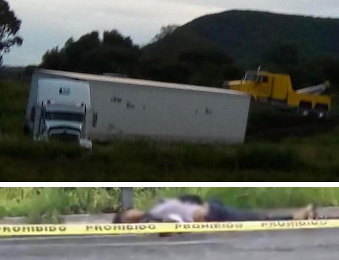 Hallan hombre muerto junto a tráiler volcado en la autopista Siglo XXI
