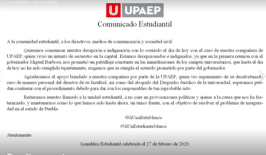 Pese a marchas intentan secuestrar a estudiante de la UPAEP en Puebla