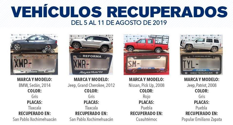 Durante agosto en la capital recuperaron 15 vehículos