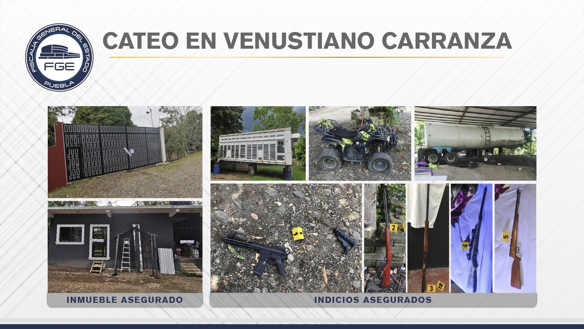 FGE aseguró armas y vehículos en cateo en Venustiano Carranza