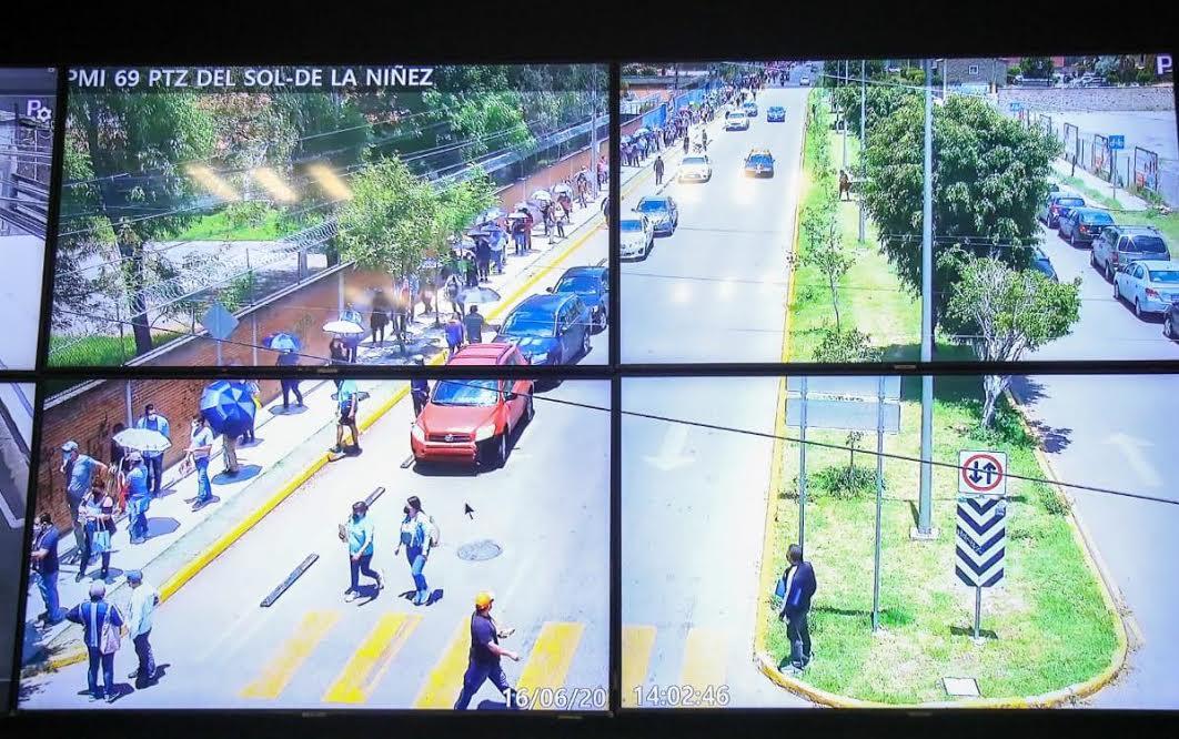 Con Video Vigilancia cuidan puntos de vacunación en San Andrés Cholula