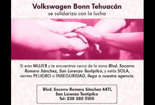 Participan empresas en campaña contra violencia de género en Tehuacán
