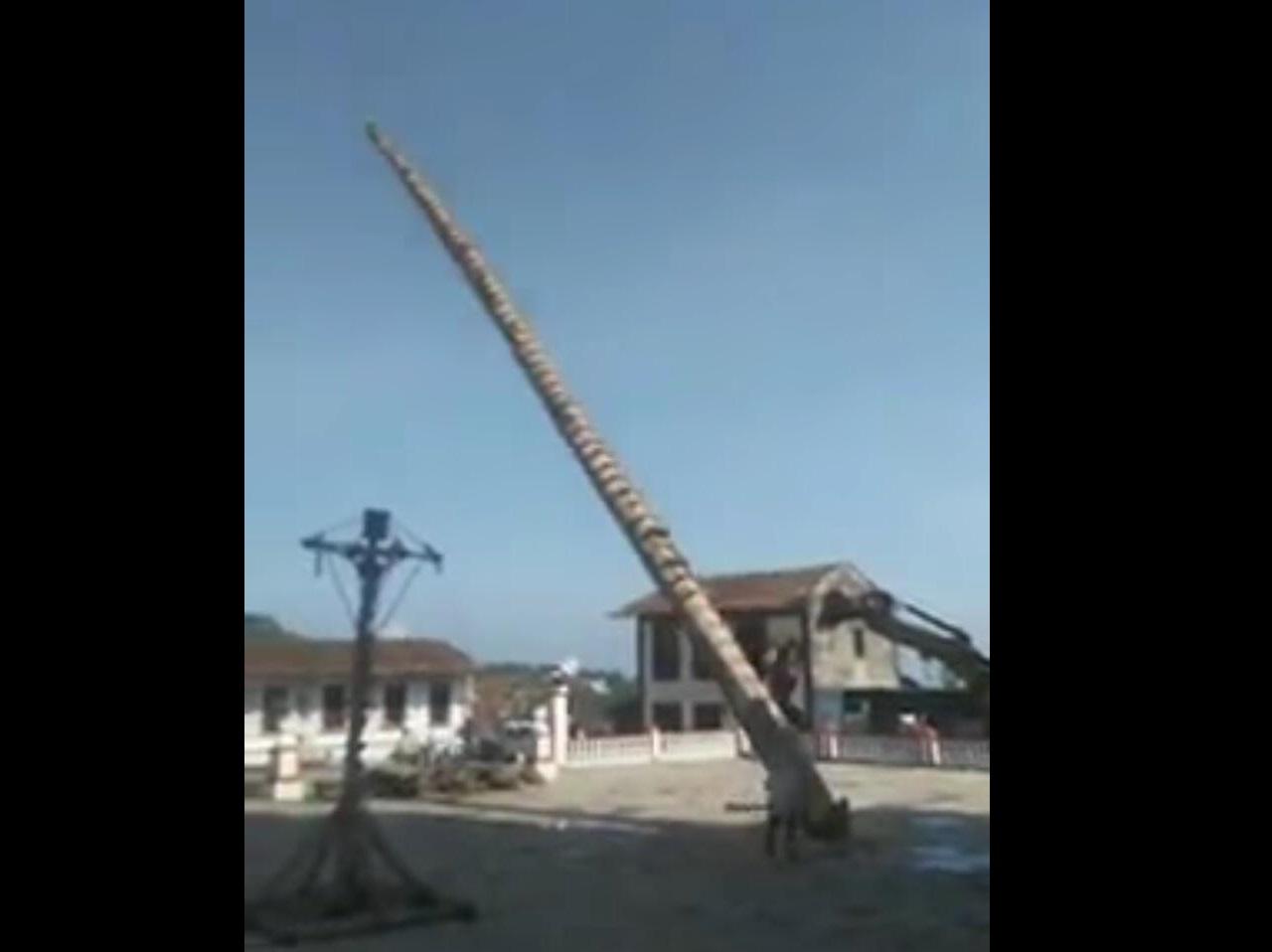 Derriban palo de la danza de los voladores en Cuetzalan