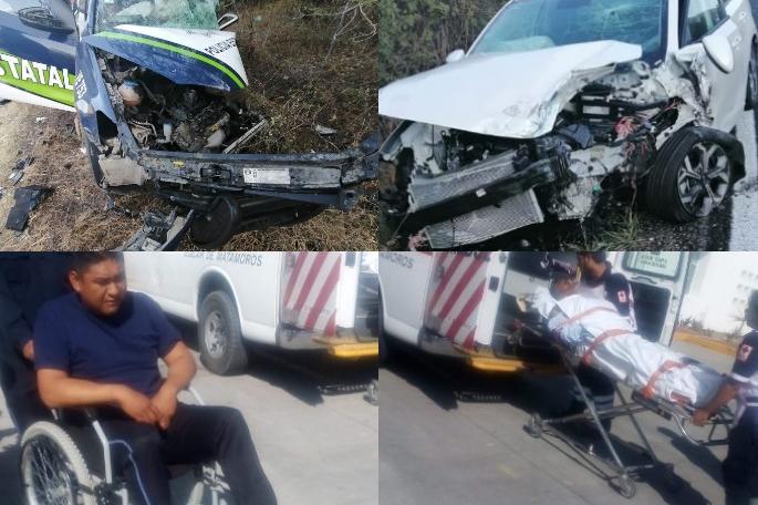 Patrulla y auto se destrozan en choque frontal, hay 2 heridos graves