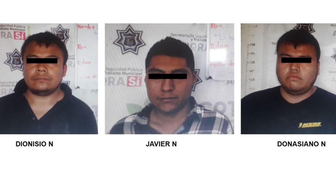 Detienen a tres presuntos huachicoleros en Huauchinango