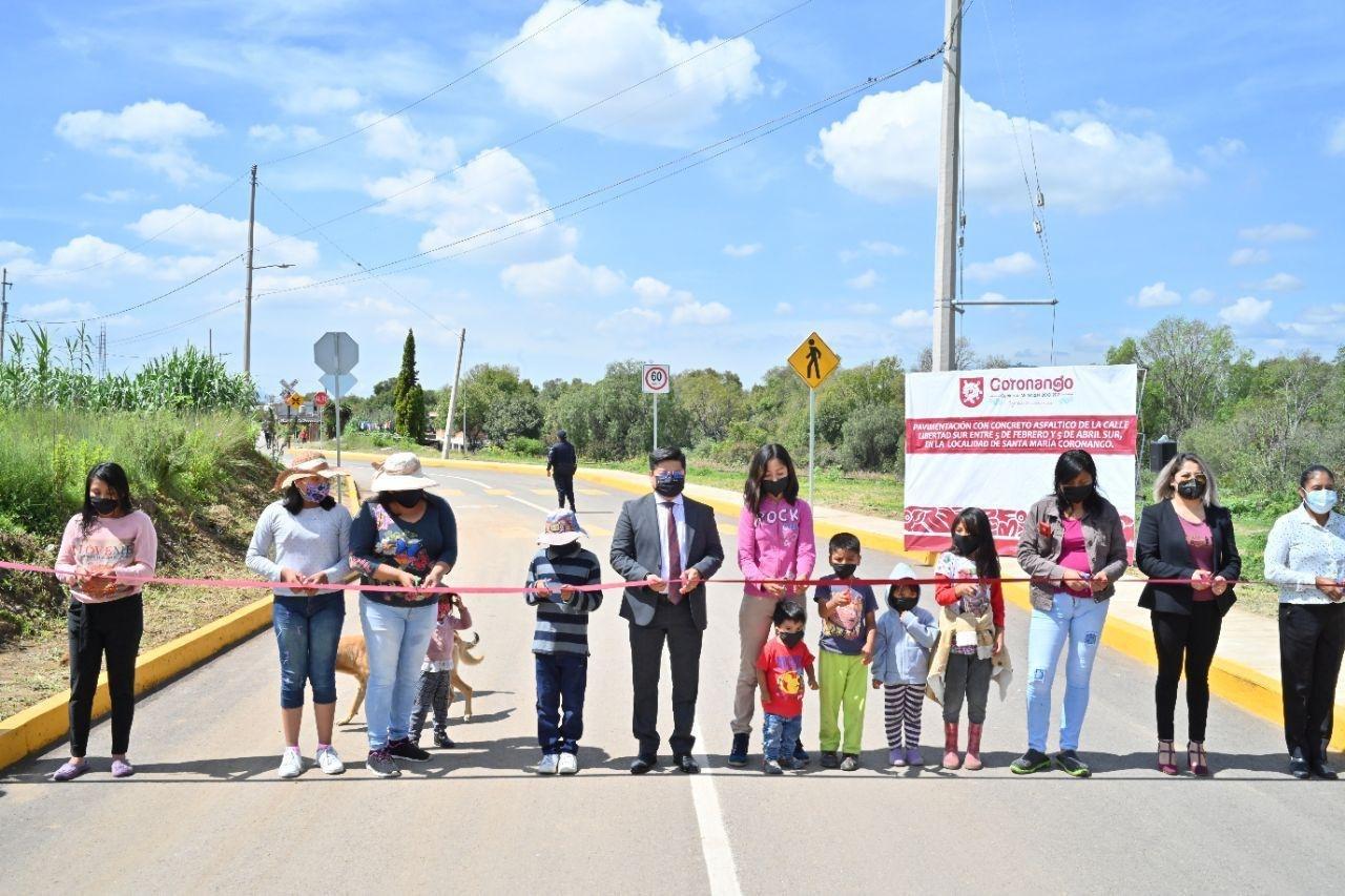 Inaugura edil de Coronango obras de pavimentación en Mihuacán