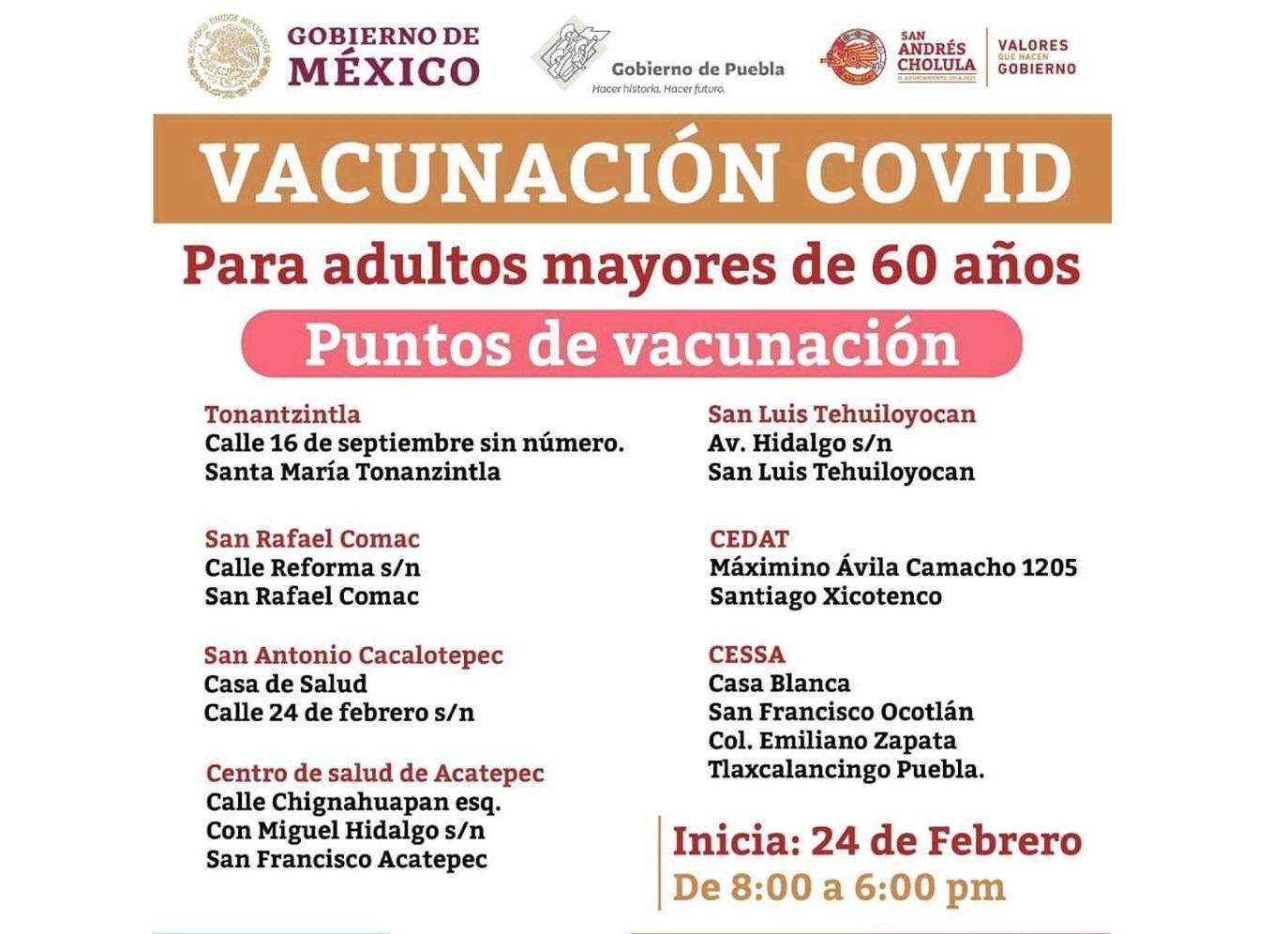 Vacunación antiCovid inicia este miércoles en San Andrés Cholula