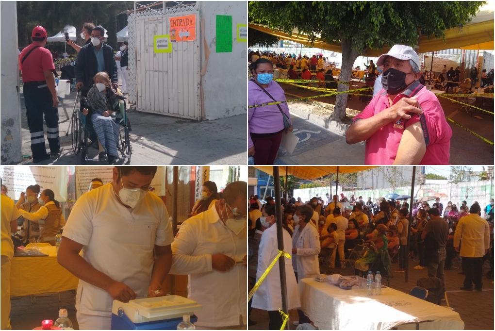 Entre aplausos y enojos, así recibieron abuelitos vacuna anticovid en Tehuacán