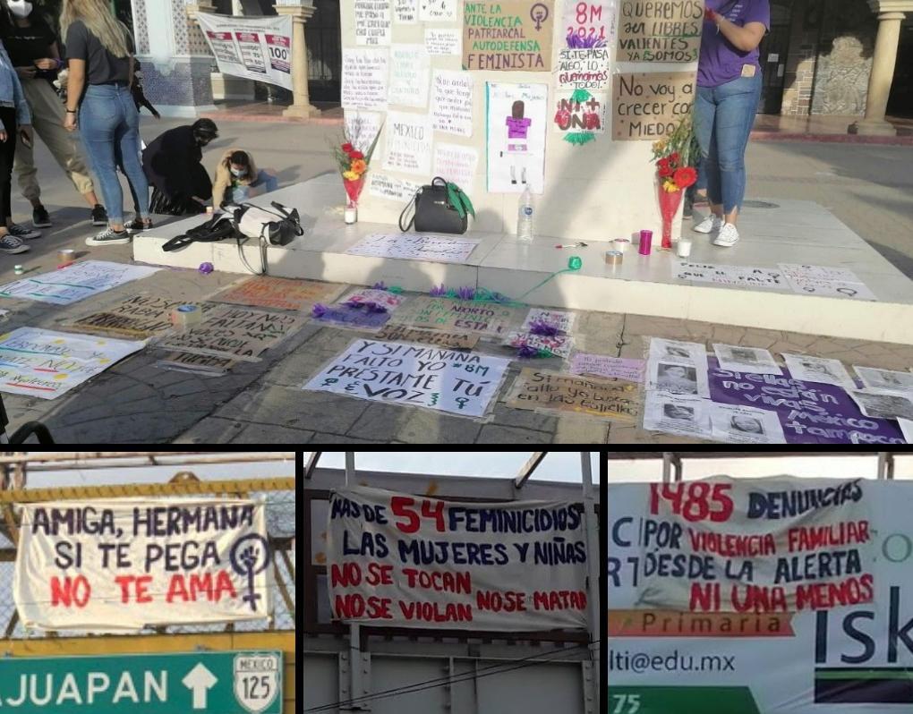 Con lonas y carteles mujeres exigen alto a la violencia en Tehuacán