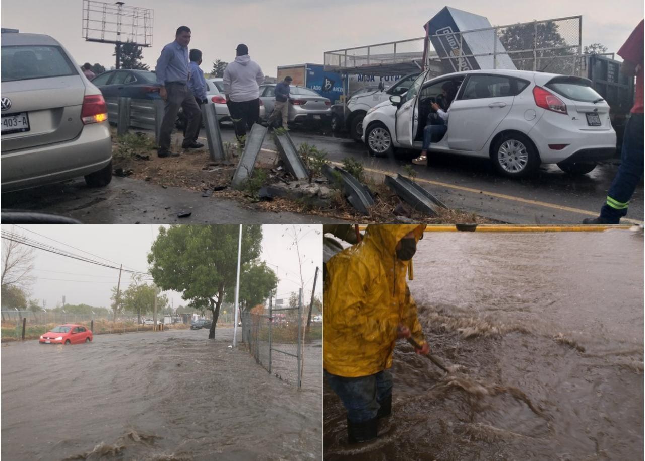 Carambola y drenajes colapsados tras la lluvia en Puebla