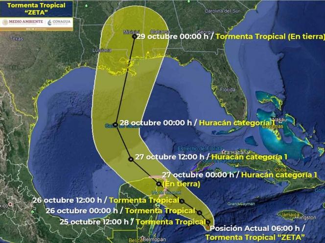Tormenta tropical Zeta amenaza al sureste de Cozumel